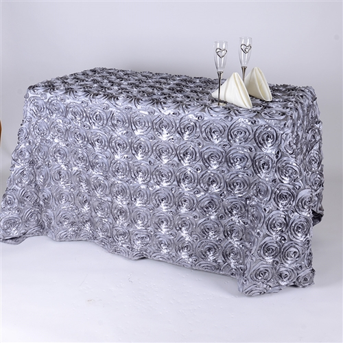 Silver 90 Inch x 156  Inch Round Rosette Satin Tablecloths