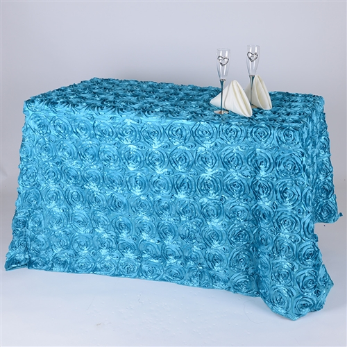 Turquoise 90 Inch x 156  Inch Round Rosette Satin Tablecloths