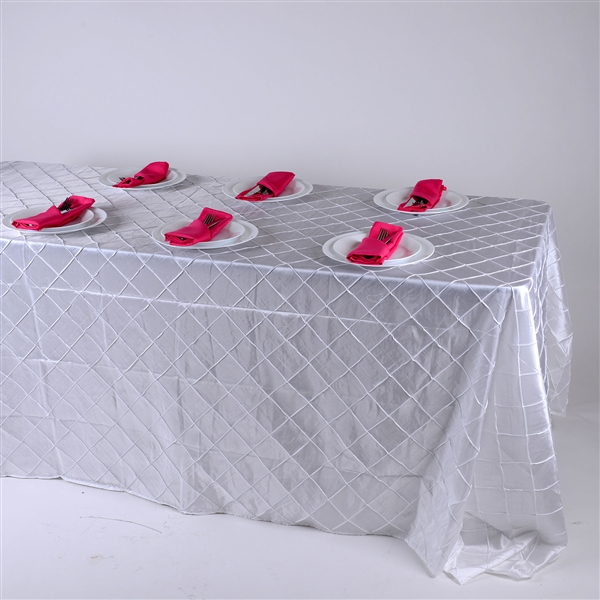 White 90 inch x 156 inch Pintuck Satin Tablecloth