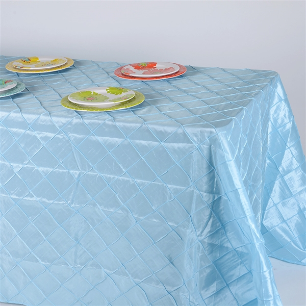 Light Blue 90 inch x 156 inch Pintuck Satin Tablecloth