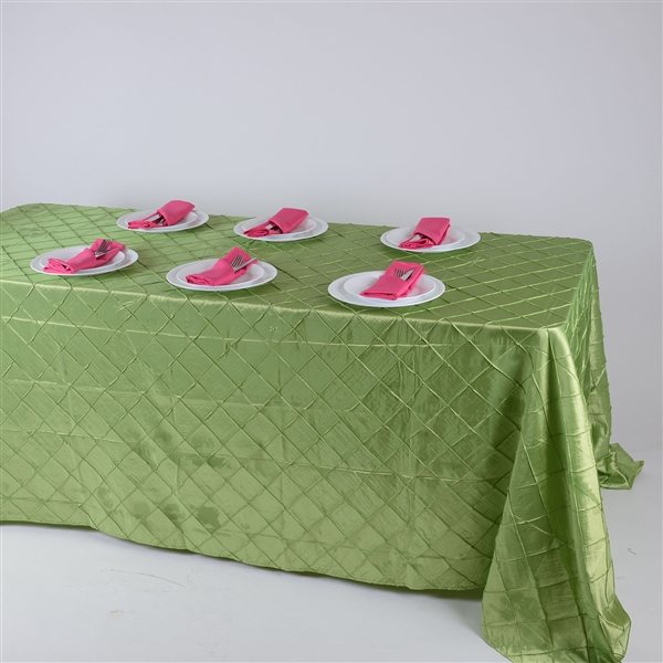 Apple Green 90 inch x 156 inch Pintuck Satin Tablecloth