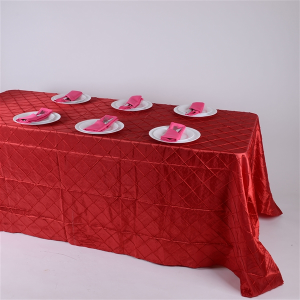 Red 90 inch x 156 inch Pintuck Satin Tablecloth