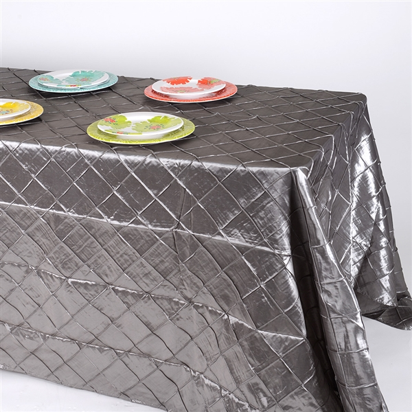 Silver 90 inch x 156 inch Pintuck Satin Tablecloth