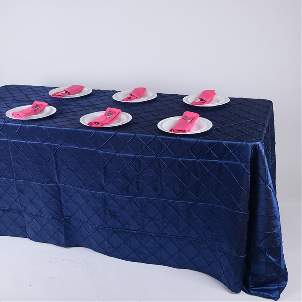 Navy Blue 90 inch x 156 inch Pintuck Satin Tablecloth