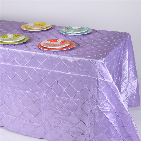 Lavender 90 inch x 156 inch Pintuck Satin Tablecloth