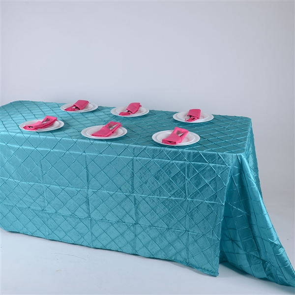 Turquoise 90 inch x 156 inch Pintuck Satin Tablecloth
