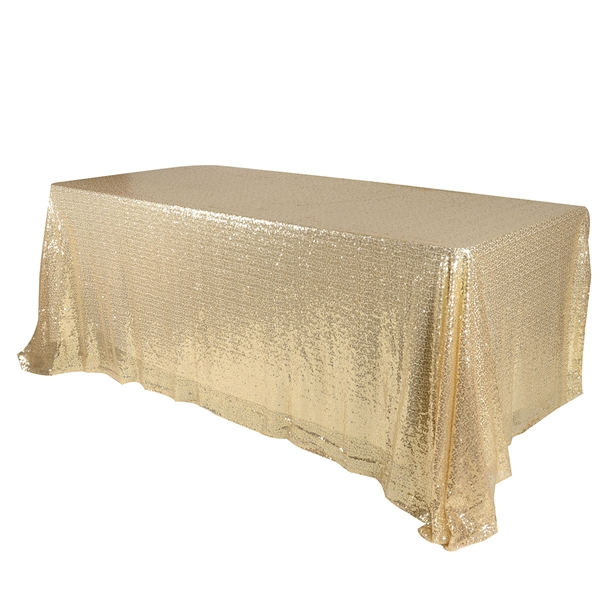 Champagne 90x156 inch Rectangular Duchess Sequin Tablecloth