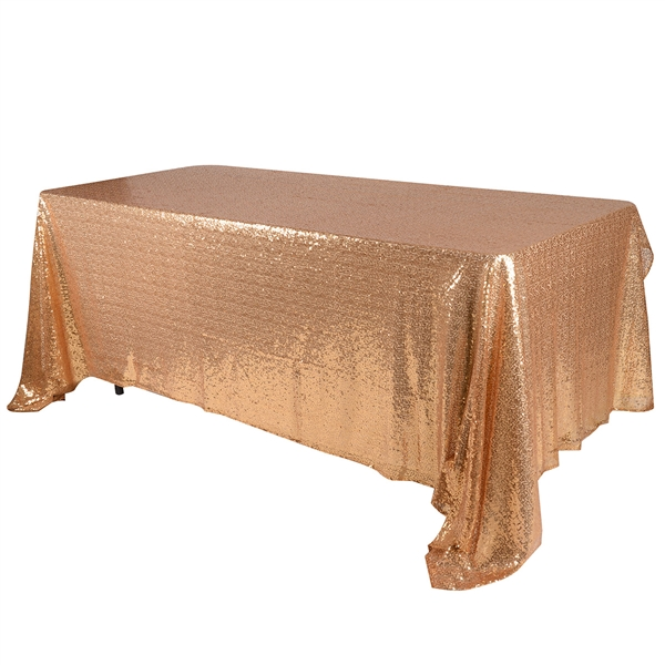 Gold 90x156 inch Rectangular Duchess Sequin Tablecloth