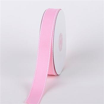 3/8 Inch Pink Stitch Design Grosgrain Ribbon