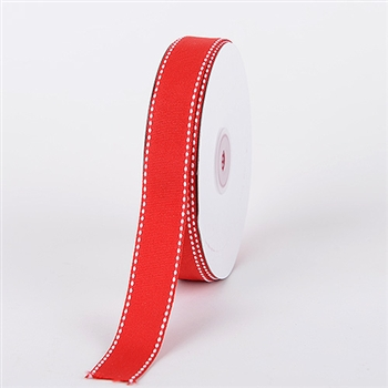 3/8 Inch Red Stitch Design Grosgrain Ribbon