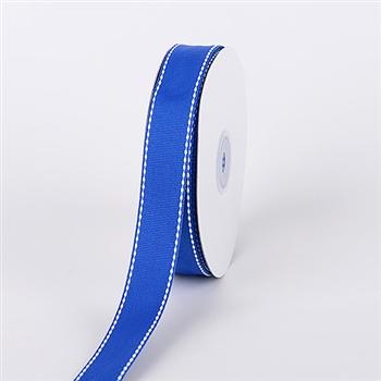 3/8 Inch Royal Blue Stitch Design Grosgrain Ribbon