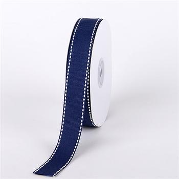 3/8 Inch Navy Blue Stitch Design Grosgrain Ribbon