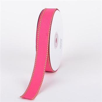 3/8 Inch Fuchsia w/ Apple Stitch Design Grosgrain Ribbon