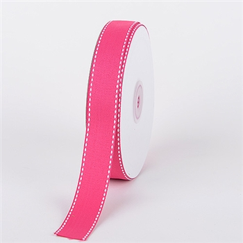 5/8 Inch Fuchsia Stitch Design Grosgrain Ribbon