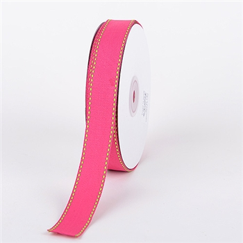 5/8 Inch Fuchsia w/ Apple Stitch Design Grosgrain Ribbon