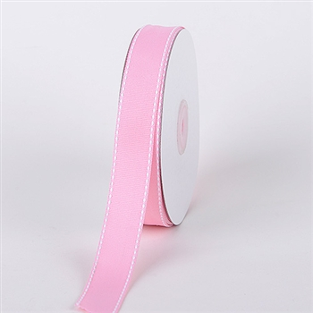 7/8 Inch Pink Stitch Design Grosgrain Ribbon