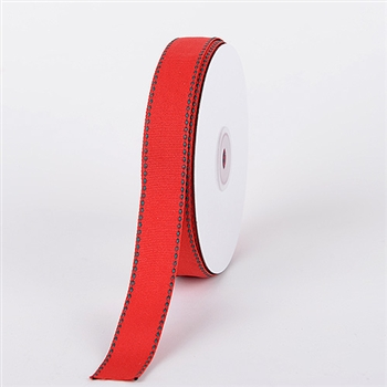 7/8 Inch Red w/ Hunter Stitch Design Grosgrain Ribbon