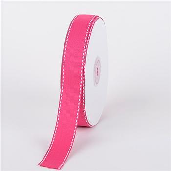 7/8 Inch Fuchsia Stitch Design Grosgrain Ribbon