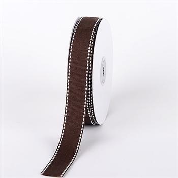 7/8 Inch Chocolate Brown Stitch Design Grosgrain Ribbon