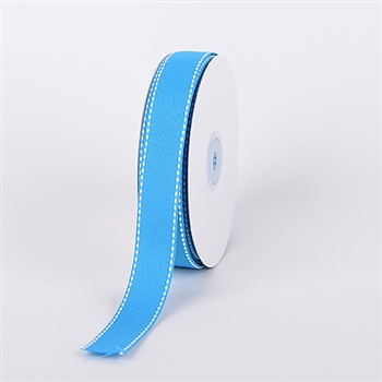 7/8 Inch Turquoise Stitch Design Grosgrain Ribbon