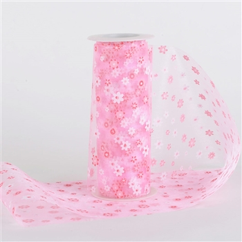 Light Pink Organza Flower Roll 6 inch x 10 yards