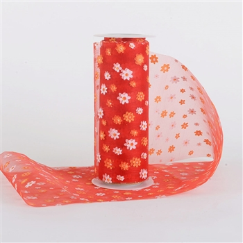 Red and Orange Organza Flower Roll 6 inch x 10 yards