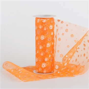 Orange Organza Flower Roll 6 inch x 10 yards