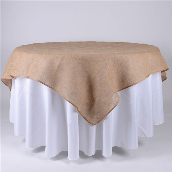 60x60 Inch Fine Rustic Jute Burlap Square Tablecloths