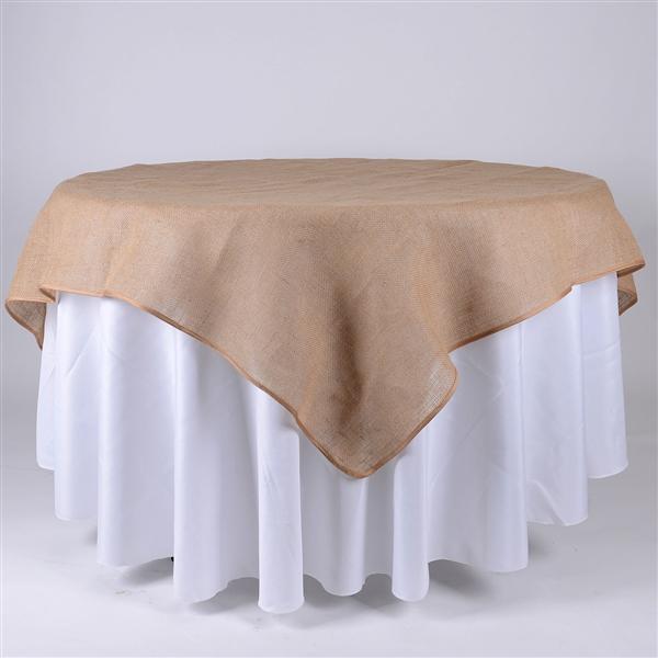 72x72 Inch Fine Rustic Jute Burlap Square Tablecloths