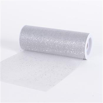 Silver Confetti Organza 6 Inch Roll 10 Yards