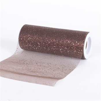 Brown Confetti Organza 6 Inch Roll 10 Yards
