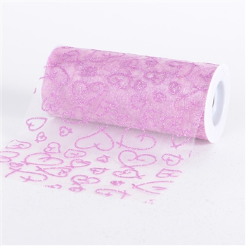 Pink Glitter Heart Organza 6 Inch Roll 10 Yards