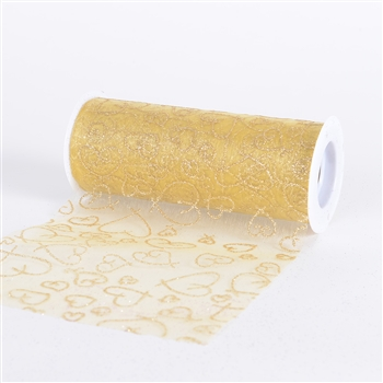 Gold Glitter Heart Organza 6 Inch Roll 10 Yards