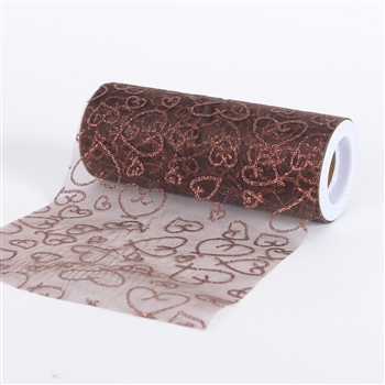 Brown Glitter Heart Organza 6 Inch Roll 10 Yards