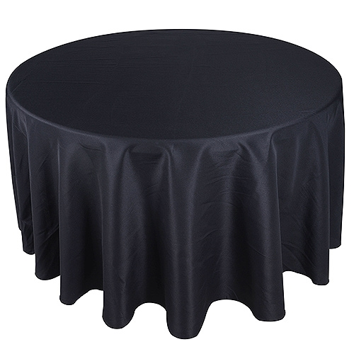 Black 70 Inch Premium Polyester Round Tablecloths