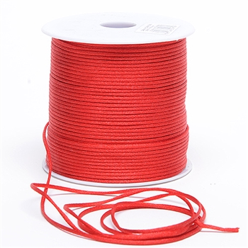 Red 3 mm Rattail Satin Cord 100 Yards