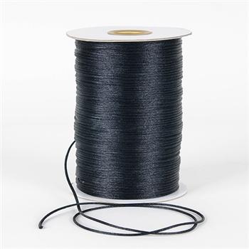 Black 3 mm Rattail Satin Cord 100 Yards