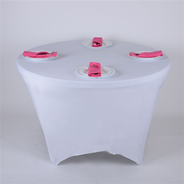 White 8 Seat Round Spandex Tablecloths