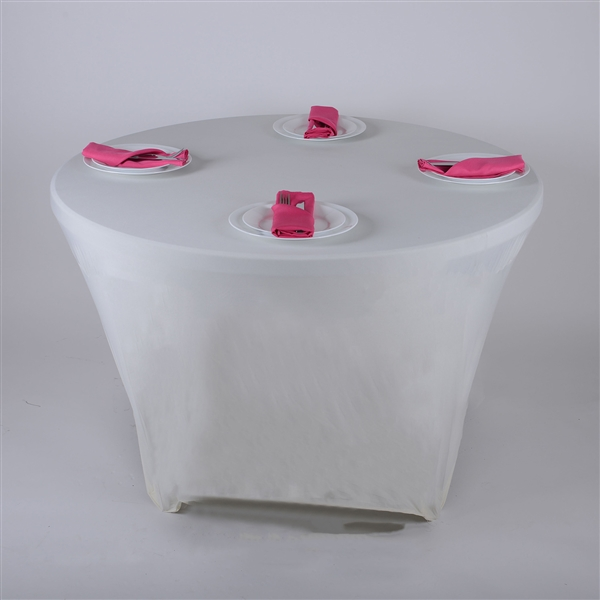 Ivory 8 Seat Round Spandex Tablecloths