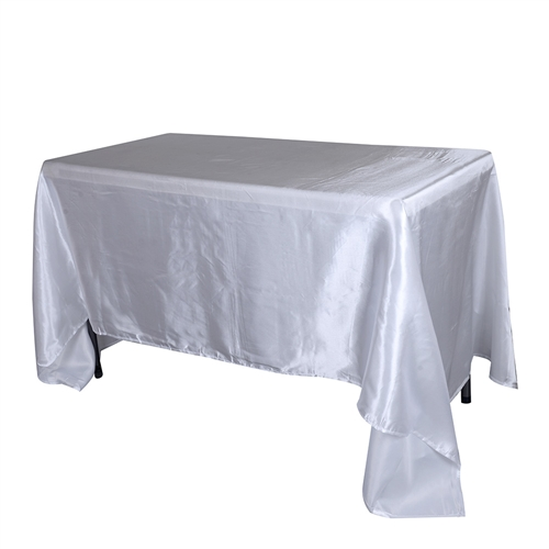 White 60 Inch x 102 Inch Rectangular Satin Tablecloths