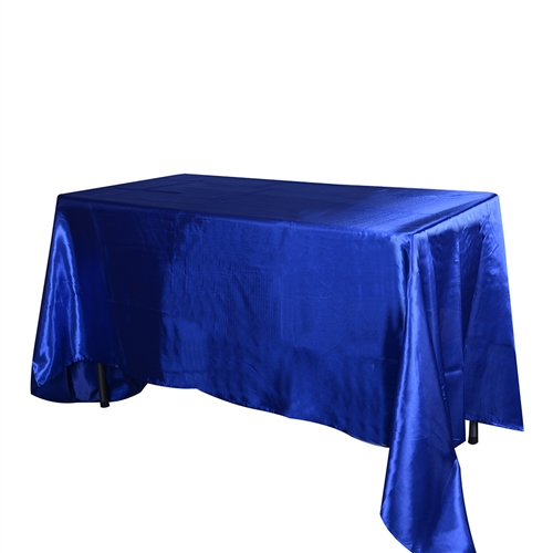 Royal Blue 60 Inch x 102 Inch Rectangular Satin Tablecloths