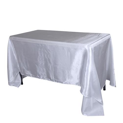 White 60 Inch x 126 Inch Rectangular Satin Tablecloths