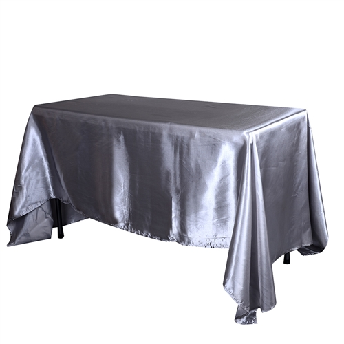 Silver 60 Inch x 126 Inch Rectangular Satin Tablecloths