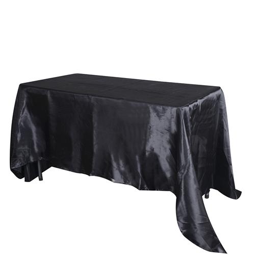 Black 90 Inch x 132 Inch Rectangular Satin Tablecloths
