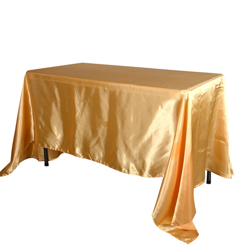 Gold 90 Inch x 156 Inch Rectangular Satin Tablecloths