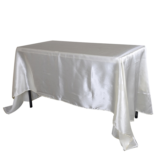 Ivory 90 Inch x 156 Inch Rectangular Satin Tablecloths
