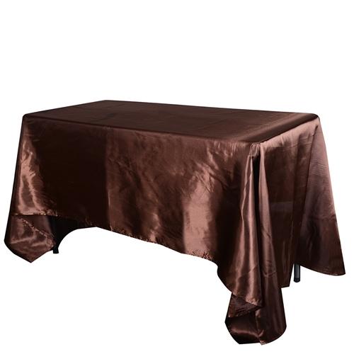Chocolate Brown 90 Inch x 156 Inch Rectangular Satin Tablecloths