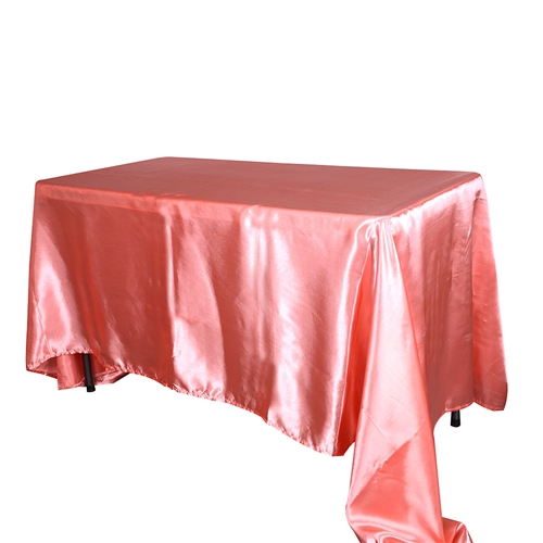 Coral 90x156Inch Rectangular Satin Tablecloth