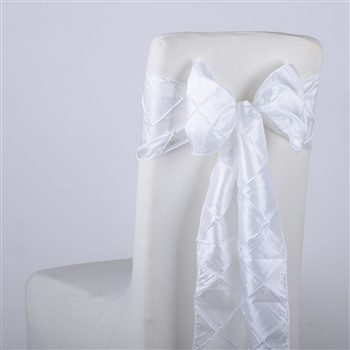 White Pintuck Satin Chair Bow ( 5 Pieces )