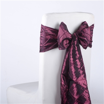 Wine Pintuck Satin Chair Bow ( 5 Pieces )
